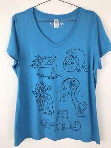 MARUSHKA XL Women Knit Top T-Shirt Short Sleeve Teal Blue Naughty Cats