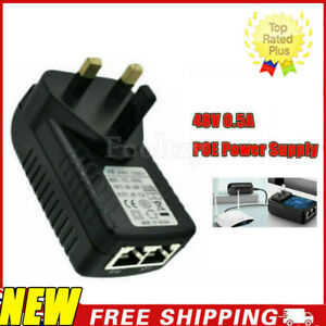 POE Power Supply PoE Injector adapter Wall UK Plug Power Over Ethernet 48V 0.5A