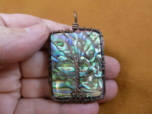 j471-13) Paua sea shell + Mother of Pearl copper wired Tree of Life pendant