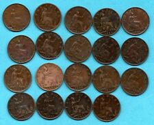 More details for 19 queen victoria bun head farthing coins dated 1860 - 1894. victorian job lot
