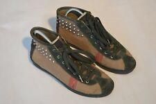 Burberry Cnhuabadodon Brown Check Canvas Silver Stud Trainers Womens EU 39 UK 6
