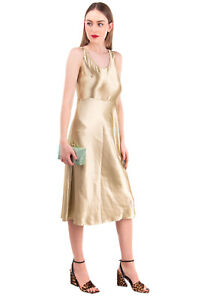RRP €340 VINCE. A-Line Dress Size 6 / S Wet Look Unlined Sleeveless Scoop Neck