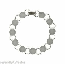 """3 Silver Plated BRACELET Blanks/Forms ~ 7.2"""" LONG ~ 11 Pads to Glue-on Beads"""
