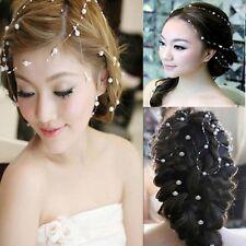 New Bridal Pearl Studded Wedding Party Headpiece Tiara Headdress Hairband 130cm