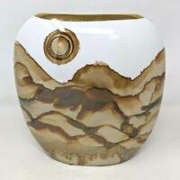 "Modern Art Pottery 7 1/4"" Ceramic Vase White Brown Watercolor Effect Glaze FP20"