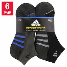 New Adidas Mens Low Cut Socks 6 Pack Black and Gray Black and Blue