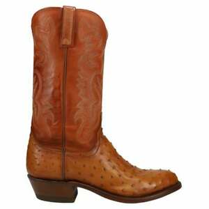 Lucchese Dante Ostrich Round Toe   Mens  Boots   Mid Calf  - Beige,Brown - Size