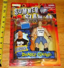 1999 WWF WWE Jakks Stone Cold Steve Austin Wrestling figure MOC with Cooler