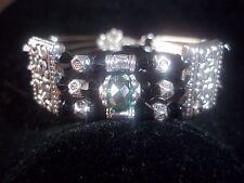 Tibetan Silver Black & Green Crystal Bead CUFF Bracelet B-12