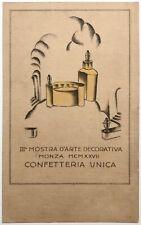 IIIa MOSTRA ARTE DECORATIVA MONZA 1927 CONFETTERIA UNICA cartolina pubblicitaria