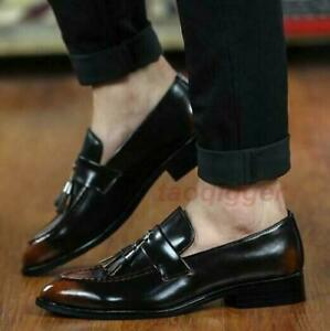 Men's Shoes Loafers Shiny Tassels Slip On Pointed Toe Formal Vintage Casual Chic