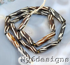 """Ny6design 24x6x6mm Brown African Style Bone Carved Long Tube Beads 15"""" (OX008)a"""