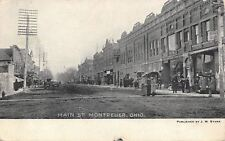 Montpelier Ohio~Victorian Ladies in Middle of Main Street~Stores~Dirt Road~1908