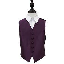 DQT Woven Plain Solid Check Cadbury Purple Boys Wedding Waistcoat 2-14 Years