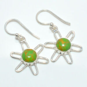 """Copper Green Turquoise 925 Sterling Silver Earring Jewelry 1.37"""" F2682"""