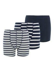 NAME IT 3er Pack Unterhosen dunkelblau weiß gestreift Größe 80 bis 158/164