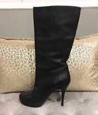 Authentic Yves Saint Laurent Black Leather Heel Mid Calf Boots Sz 39 - Platform