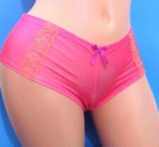B8 BLACK Fuchsia Pink Polka Dot Lacy Boy shorts Sissy Bikini Panties S M
