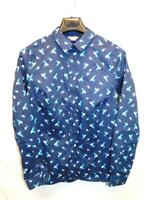 Duluth Trading S Blue Bird Print Wrinklefighter Shirt Button Up Long Sleeve Sm