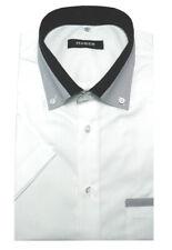 HUBER Kurzarm Hemd weiß mit Kontrast Button-down Regular Fit HU-0151 Made in EU
