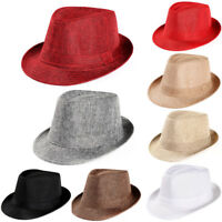 Unisex Men Women Summer Hat Trilby Gangster Cap Beach Sun Straw Hat Band Sunhats