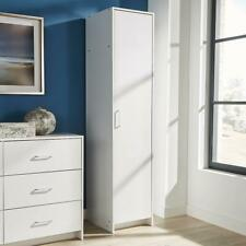 Single Door Narrow Wardrobe White 1 Door Hanging Rail Storage Shelf Bedroom Unit