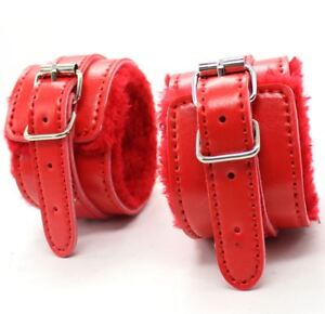 High Quality Red Leather Fur Bondage Ankle Cuffs and Ball Gag  restraint sexy