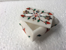 "3""x2""x2"" White Marble Decorative Jewelry Box Mosaic Inlaid Multi Precious H3531"