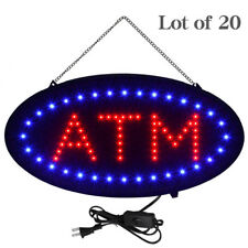 """Lot of 20 Led Neon Light Oval Atm Sign w/ Motion Animation On/Off Switch 19""""x10"""""""