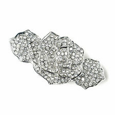 Vintage Bridal Blanc Strass Rose Cheveux Fleur Barrette Accessoires HA191