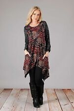 Aster by FIRMIANA Asym Tunic Dress Red Gray Size M