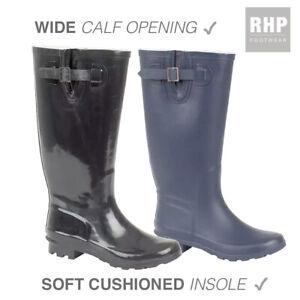 Ladies Wide Fit Wellies Wellington Boots Wide Calf Adjustable Buckle UK Sizes