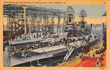 NORFOLK, VA  Virginia    BATTLESHIPS & DESTROYERS-Navy Yard    c1940's Postcard