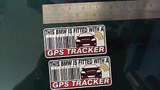 Cette bmw est équipé d'un gps tracker autocollants decal x2 alarm lock antivol