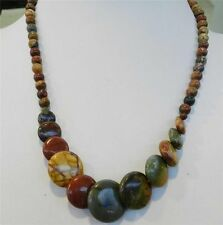 Round & Coins Beads Necklace#Zy3509 Natural 6-20mm Multicolor Picasso Jasper