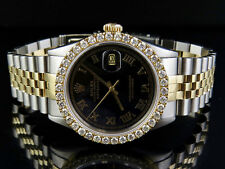 Mens Rolex 18K/ Steel Datejust Two Tone 36MM Black Dial Diamond Watch 3.25 Ct