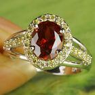 Women's Fashion Jewelry Oval Cut Garnet & Citrine Gemstone Silver Ring Size 7