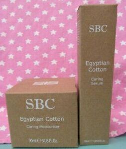 SBC Egyptian Cotton Caring Face Serum & Moisturiser Bundle NEW FULL SIZE  FRESH