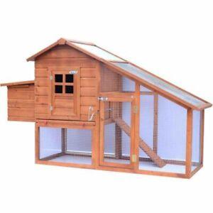 Huge Wooden Chicken Coop Weatherproof Poultry House Egg Nest Box Run Cage Garden