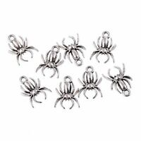 10pcs Tibetan Silver Spider beads Charms pendant fit bracelet  jewelry findings