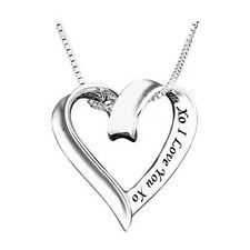 *UK* 925 SILVER PLT 'XO I LOVE YOU XO' HOLLOW HEART ENGRAVED NECKLACE GIRLFRIEND
