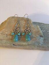 NEW Turquoise Water Drop Beads Tibetan Silver Hook Earrings -E219