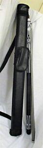 "SPORTCRAFT 58"" Fiberglass Silver & Black Billiard Pool Cue Stick With Hard Case"