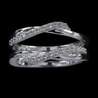 1.5CT Round Diamond Enhancer Ring Guard Wrap 14k White Gold Over Wedding Band