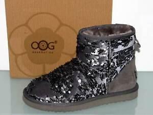 OOG GENERATION Pailetten Wildleder Stiefel Yeti Boots Warm Grau - Neu! Gr. 37