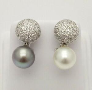 Antonini 18k White Gold Pearl & 1.5ctw Diamond Pave Earrings w Omega Clip Backs