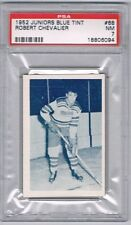 1952 Junior Blue Tint  Hockey Card Quebec Citadels Robert Chevalier Graded PSA 7