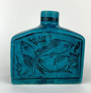 Antique PERSIAN QAJAR Turquoise POTTERY Tea Flask 19th/20th Century Vase Raqqa