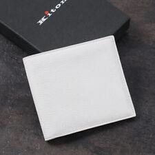 Kiton Napoli Soft Grained White Calfskin Leather Bi-Fold Wallet + Box