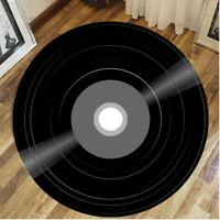 Record Printed Soft Fabric Round Floor Mat Carpet Room Area Livingroom Rug Vinyl